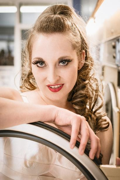 Doe Demure- launderette shoot by Sue Wagstaff